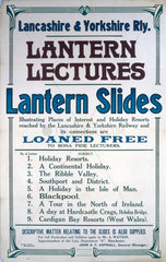 'Lantern Lectures  Lantern Slides'  LYR notice  early 20th century.