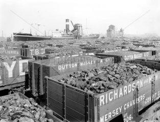 Wagons full of coal at Birkenhead Docks  Merseyside  9 May 1924.