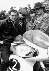 Motorcyclist Mike Hailwood and his father  June 1960.
