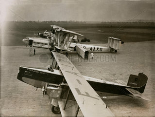 Three international airliners at Croydon Airport  22 December 1933.