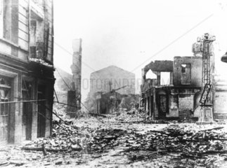 Devastation and destruction in Guernica after the air raid  29th April 1937.