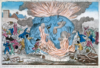'The lamentable burning of Miolan and Janinet's aerostat'  11 July 1784.