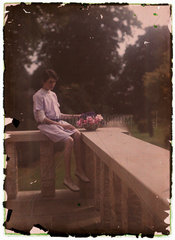 Autochrome of a young girl  c 1910.