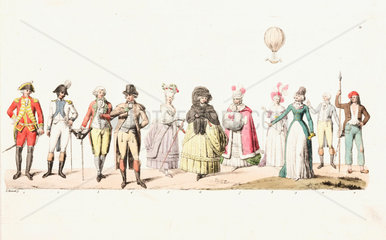 Eleven French figures with a balloon overhead  mid 19th century.