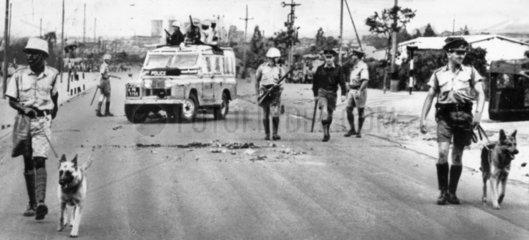 'Police dog patrol in Bulawayo  Rhodesia' 24 November 1965.