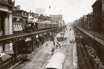 Elevated railway  Bowery  New York  USA  c 1901.