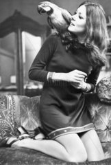 Diana Rigg with her parrot  May 1970.