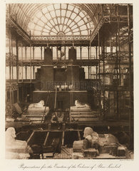 Preparing to erect Egyptian statues  Crystal Palace  London  1911.