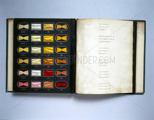 A book of dye samples  c 1910.