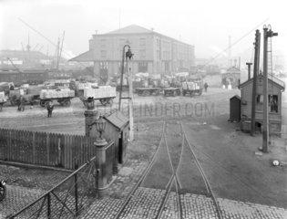 Goods warehouse at Birkenhead Docks  Merseyside  c 1924.