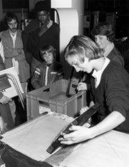 Paper-making demonstration  Science Museum  London  20 October 1982.