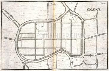 Map of Ayutthaya  capital of Siam  (Thailand)  c 1690.