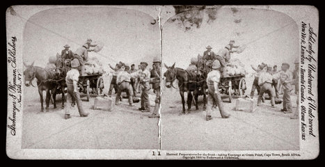 'Hurried Preparation for the front  Green Point  Cape Town  South Africa'  1900.