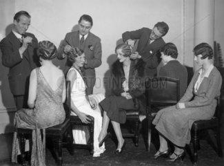 Hairdressers styling women's hair at Frascati's restaurant  5 November 1931.