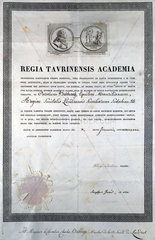 Diploma from the Regia Taurinensis Academia  19th century.