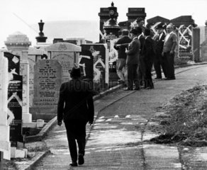 Desecration of a Jewish cemetery by Nazis  Lancashire  August 1965.