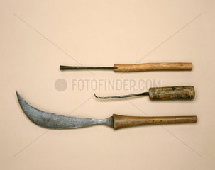 Curved Caesarean knife and cautery instruments  c 1879-1920.