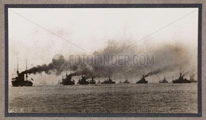 Battle fleet at sea  c 1916.