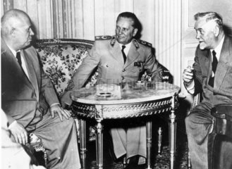 Marshal Tito meets Khrushchev and Bulganin  Belgrade  29 May 1955.