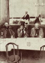 Three men drinking absinthe in a bar  c 1900.