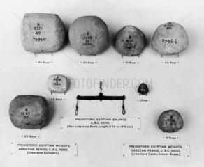 Prehistoric Egyptian limestone balances and weights  5000 - 7000 BC.