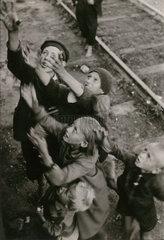 Children begging  Poland  Second World War  1940s.