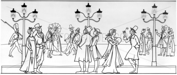Gas lighting in Pall Mall  London  1807.