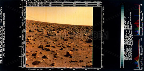 Close-up view of the Martian landscape from the Viking 2 Lander  1976.