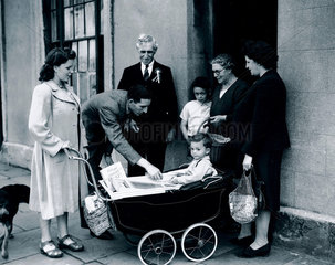 Labour candidates canvassing for votes  Cardiff  Wales  16 June 1945.