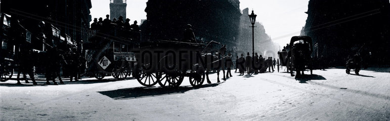 Panoramic view of a busy London street  c 1910s.