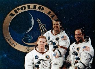 Apollo 14 astronauts and mission emblem  1971.
