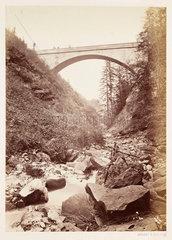 Alpine bridge  c 1865.
