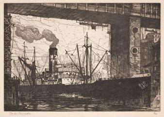 'Steamer under a Bridge'  early 20th century.
