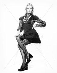 Minidress and tights  December 1972.