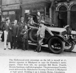 Moishe Saidman  photographer  with Chronicle journalists  Blackpool  1931.