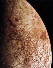 Close up of Europa  one of the moons of Jupiter  1979.