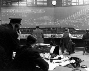 Inside York power signalbox  c 1940s.