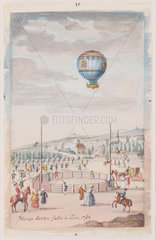 'Aerial Voyage made at Lyons'  France  19 January 1784.