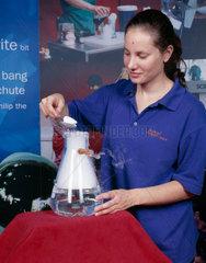 Preparing a carbon dioxide 'bubble'  Science Museum  London  August 2001.