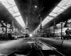 Freight trains in Gateshead locomotive depo