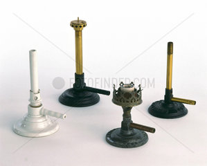 Three Bunsen burners and an Argand gas burner  late 19th-early 20th century.