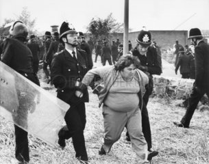 Picket escorted away by police  Orgreave  near Sheffield  1984.
