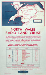'North Wales Radio Land Cruise'  1959. British Railways poster  1959.