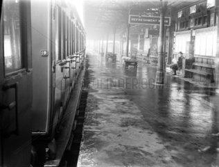 Passenger carriage  Wigan Station  Lancashire  November 1923.