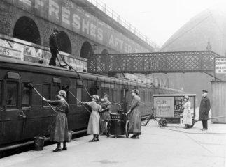 Women cleaning a train  World War One  1914-1918.