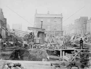 Railway construction  late 19th century.