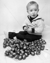 Child with Creme Eggs  Easter  1980.