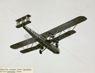 HP42 G-AAXD 'Horatius' overflying showing the Imperial titles  1930s.