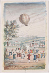 'First Ascension of a Montgolfier at Annonay'  France  5 June 1783.