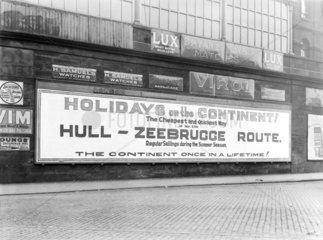 Hull to Zeebrugge poster  c 1926.